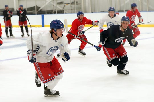 From left, Rangers Vitali Kravtsov and other Rangers prospects practice at the Rangers training facility in Greenburgh Sept. 5, 2019.