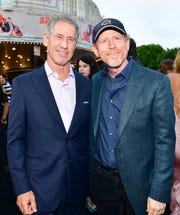 CEO of Lionsgate Jon Feltheimer (L) and Ron Howard attend the premiere of Lionsgate's 'The Spy Who Dumped Me' at Fox Village Theater on July 25, 2018 in Los Angeles, California.