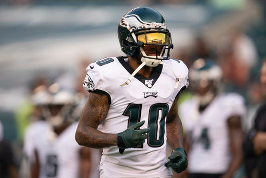 DeSean Jackson of the Eagles warms up prior to a preseason game against the Baltimore Ravens at Lincoln Financial Field on Thursday, Aug. 22 in Philadelphia.
