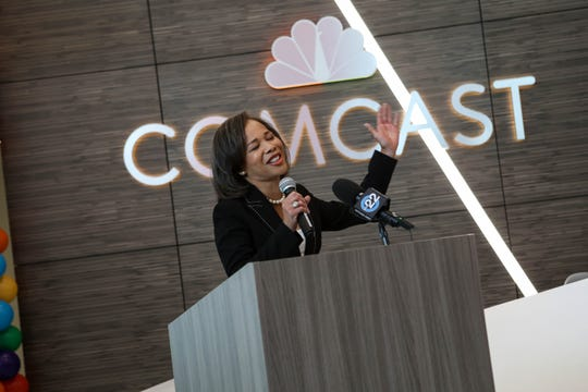 U.S. Rep. Lisa Blunt Rochester, speaks at a ribbon cutting at the new Comcast call center in New Castle County on Sept. 5, 2019.