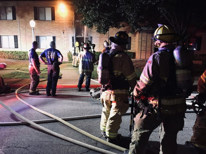Wichita Falls fire fighters battle two-alarm fire at Harrison Apartments Wednesday night.