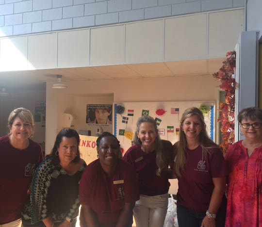 Senior-Junior Forum members recently served lunch at the Green Door Senior Center. They also made ice cream floats and helped with the games.  Left to right: Sharon Lewis, Debra Burnett, Jean Snow, Christy Whitley, Michelle Weiss and Debbie Moody.