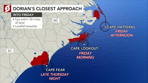 Dorian bears down on Carolinas with heavy rain, damaging winds
