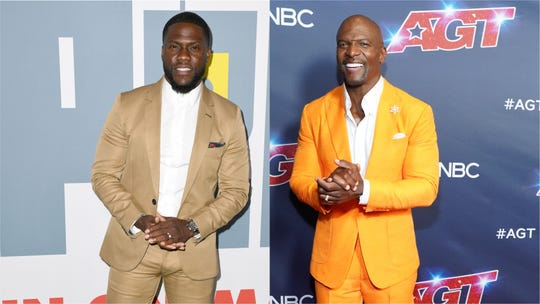 Terry Crews (R) is showing support for his friend Kevin Hart (L) as the comedian recovers from a major car crash.