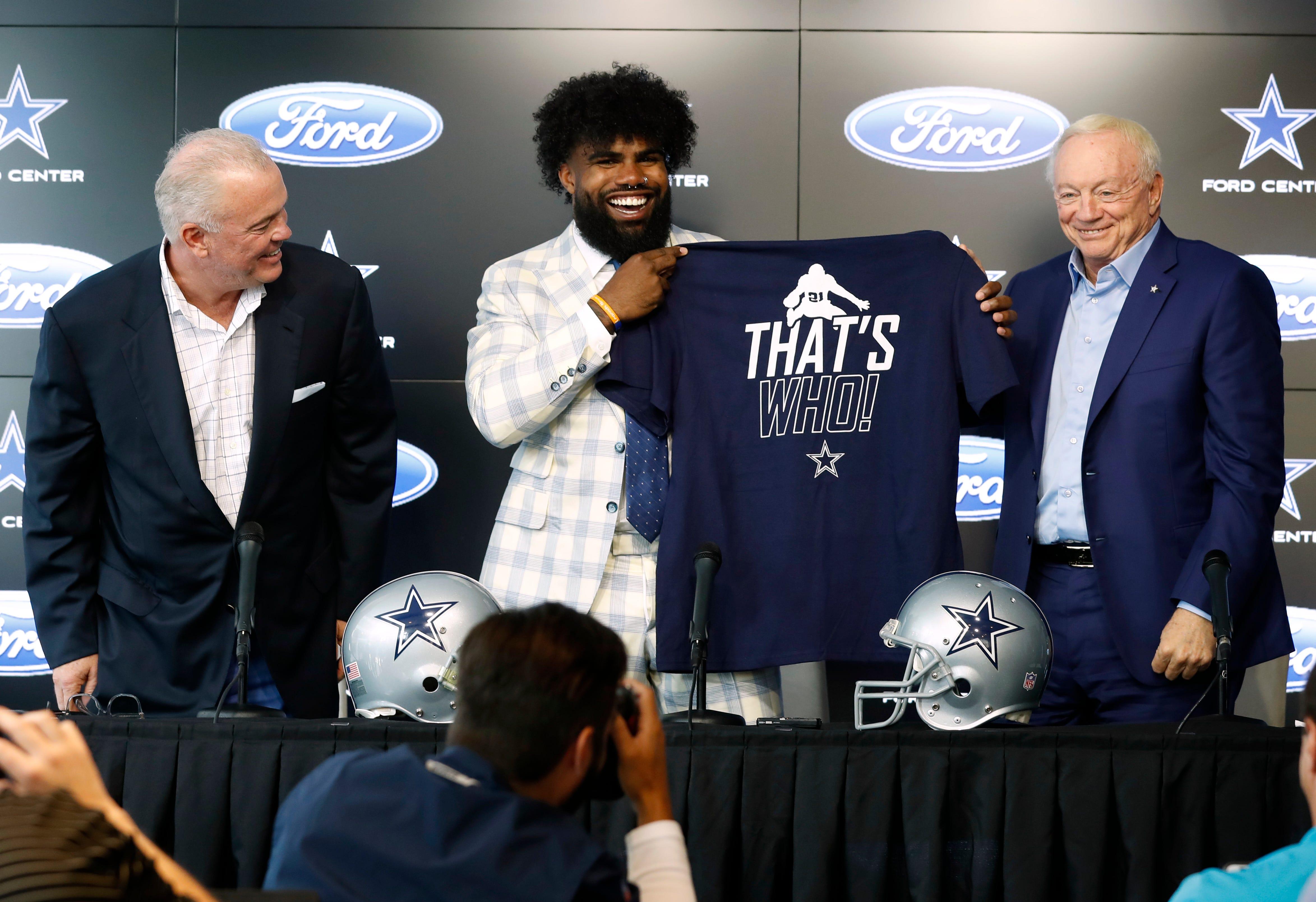 Jerry Jones, Ezekiel Elliott turn 'Zeke who?' joke into latest Cowboys swag