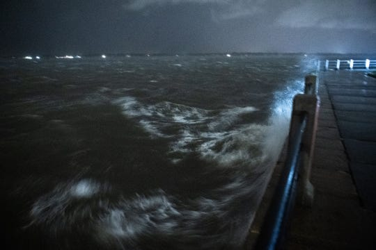 Strong wind and rain crashed waves into the breakwall at the Battery in Charleston,  South Carolina, overnight on Thursday.