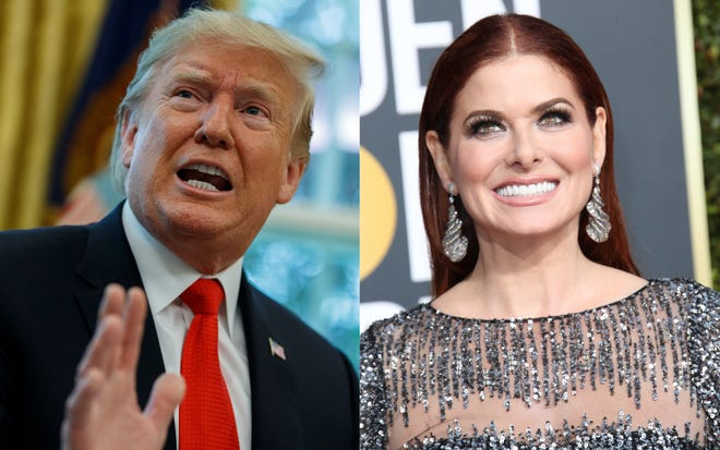 President Donald Trump and Debra Messing