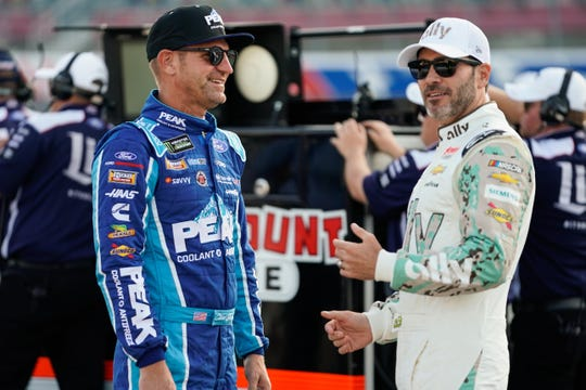 Clint Bowyer, left, and Jimmie Johnson are each looking to claim one of the final two playoff berths.