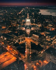 A drone shot of the Wisconsin capitol building in December 2018.