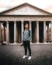 Sam Li in front of the Pantheon in Rome.