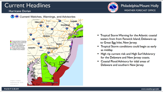 Southern counties are at risk for coastal flooding at high tide.