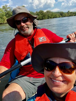 Once Grace and John Boyle got the kayak facing the right direction, the trip down the French Broad River was a lot more enjoyable. The water was really clear, too.