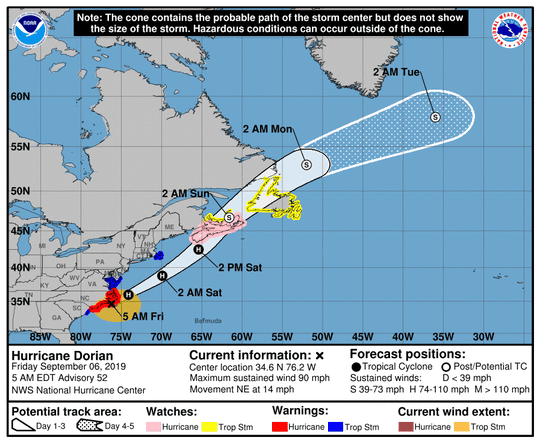 Hurricane Dorian as of Friday, Sept. 6 5 a.m. ET forecast advisory.