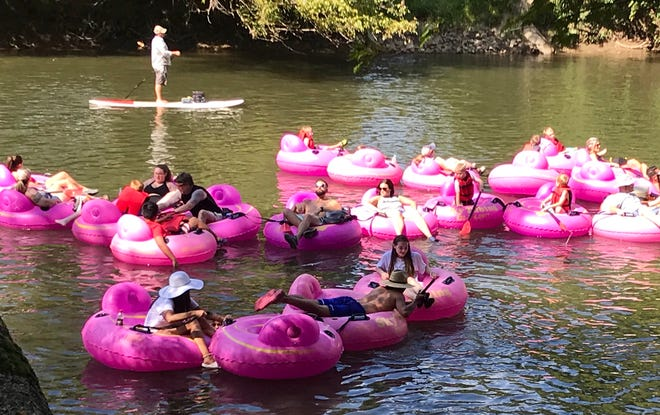 The French Broad River had a full contingent of tubers heading downstream on Labor Day weekend. The water got a good report that week, but frequent rains often caused problems with E. coli levels last summer.