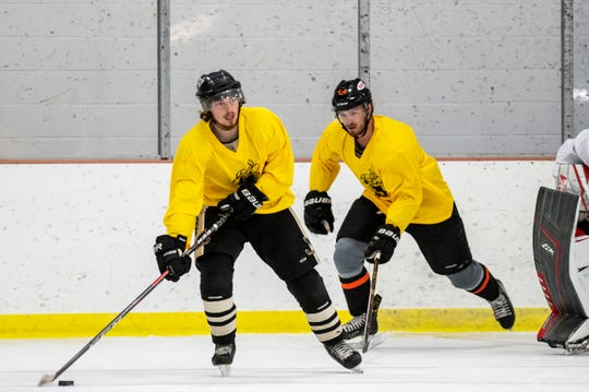 Tyler Newsom and John Stevanovich tryout to play for the Rumble Bees on Friday, Sept. 6, 2019 at The Rink in Battle Creek, Mich.