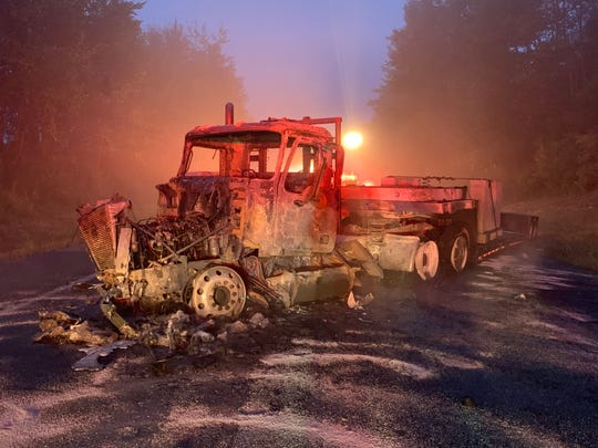 Route 12, near Phetteplace Road in Norwich, is closed after a head-on crash that caused a tractor trailer to catch fire.