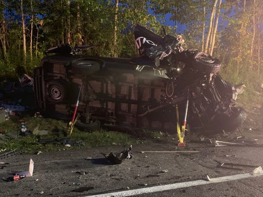 Route 12, near Phetteplace Road in Norwich, is closed after a head-on crash involving a tractor trailer and a delivery van which caused the tractor trailer to catch fire.