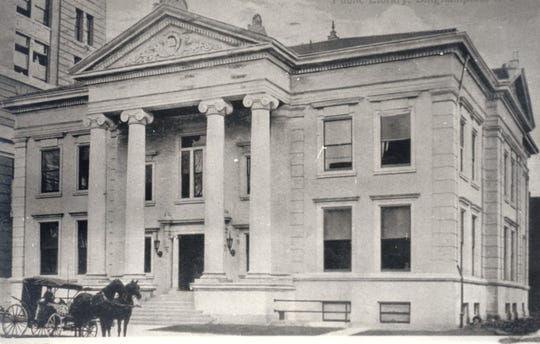The Binghamton Public Library on Exchange Street with the History Room on the second floor, about 1920.