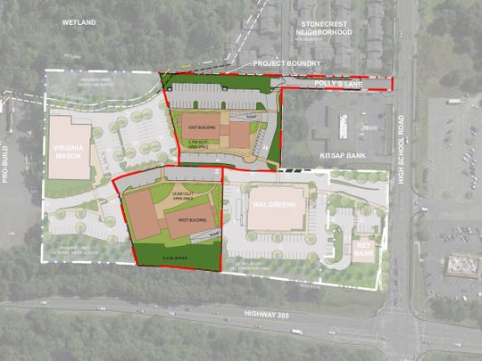 Conceptual designs filed with the city of Bainbridge Island for the apartments proposed at the Wintergreen Walk development off High School Road.