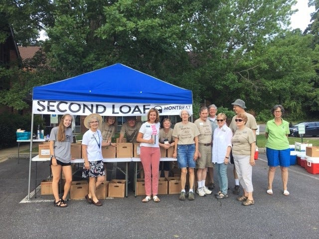 Second Loaf volunteers collect food for Swannanoa Valley Christian Ministry.
