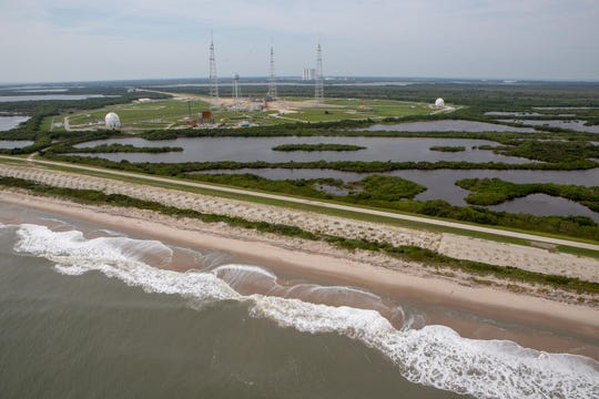 Kennedy Space Center's shoreline is seen during a post-Hurricane Dorian aerial assessment on Thursday, Sept. 5, 2019. In the background is pad 39B.
