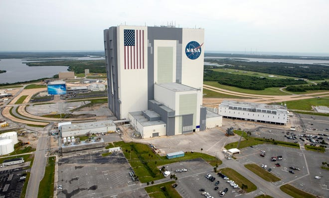 The iconic Vehicle Assembly Building is seen at Kennedy Space Center on Thursday, Sept. 5, 2019.