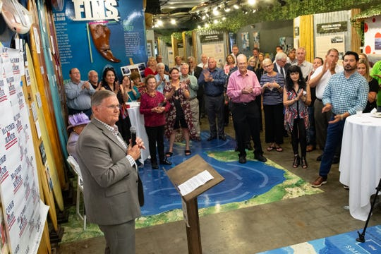 Corpus Christi Mayor Joe McComb at the Texas Surf Museum announces that he will be seeking re-election in 2020 on Thursday, Sept. 5, 2019.