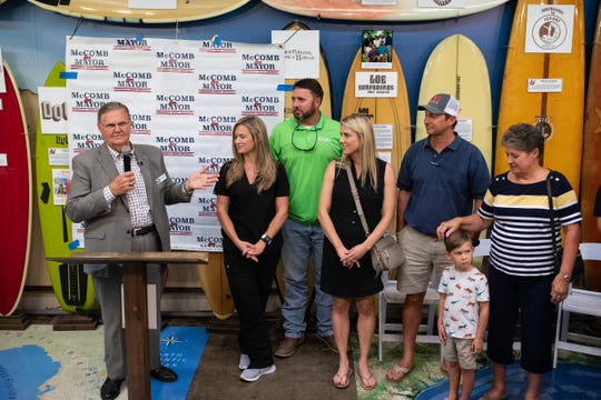 Corpus Christi Mayor Joe McComb, with his family at the Texas Surf Museum, announces that he will be seeking re-election in 2020 on Thursday, Sept. 5, 2019.