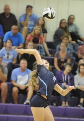 Adena's Hannah Burns goes to spike the ball during a 3-2 loss to Unioto  at Unioto High School in Chillicothe, Ohio on Thursday Sept. 5, 2019.