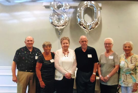 The Chillicothe High School Class of 1957 80th birthday committee members Don Roush, Dottie Depugh, Donna Sparks, Bob Brown, Carol Palmer and Joyce Adkins.