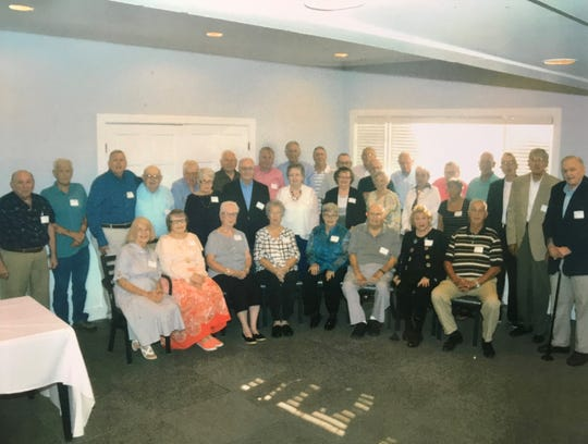 "The Chillicothe High School Class of 1957 reunion was held recently. Attending were Those who attended were Don Roush, Richard Smith, Warren Hickmott, Bob Barber, Bob Martin, Eugene Donahue, Larry Depugh, Ed Moats, Bob Kidnocker, Pete Shaffer, Bill Garrett, Larry Zonner, Glen Bucy, Frank Iden, John Irwin, Dave Armstrong, Anne (Deuvall) Duffy, Donna (Hagley) Sparks, Sandra (Schiller) Gunlock, Dorothy (Vandemark) Depugh, Diane (Vincent) Medert, Mary (Shearrow) Hopper, Carol (McCorkle) Palmer, Mary Lou Bauer, Cloyd ""Woody"" Richardson, Carol (Graves) Gallaugher, Dave Dixon and not pictured Keith Richter."