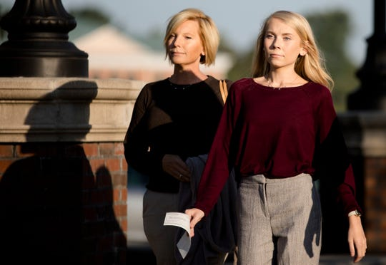 "Brooke ""Skylar"" Richardson walks into the Warren County courthouse with her mother, Kim Richardson, Friday in Lebanon."