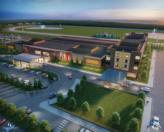 Rendering of the New Latonia Racing & Gaming Churchill Downs hopes to build. This rendering includes a hotel attached to the facility.