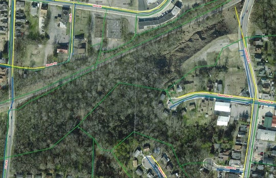 Outlined in green is the Bikers Who Care site that was given to the nonprofit by the city in 2003.