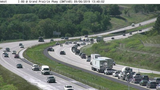 A crash blocks traffic on I-80 W at Grand Prairie Parkway
