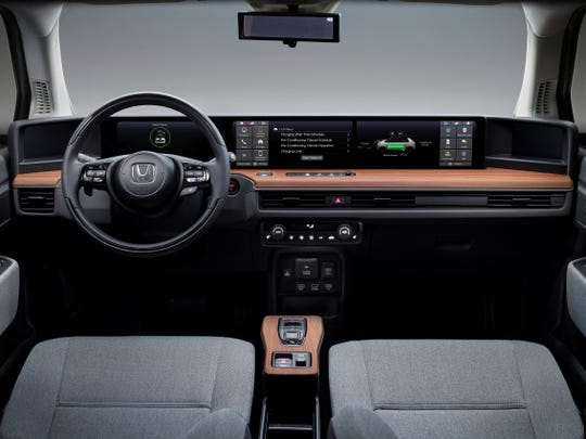 The interior of the Honda E electric car, which debuts at the 2019 Frankfurt auto show in Germany.