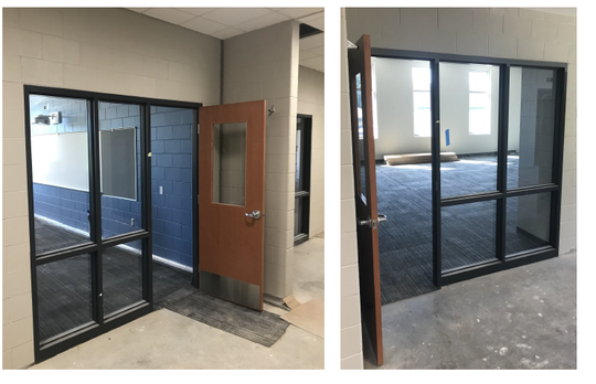 Classroom windows in the new building feature impact-resistant film.