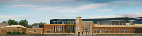 Rendering of Fruitport High School, set to open in 2021.
