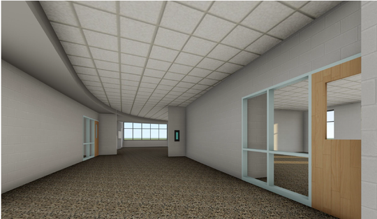 A rendering of a curved corridor in the new Fruitport High School building.