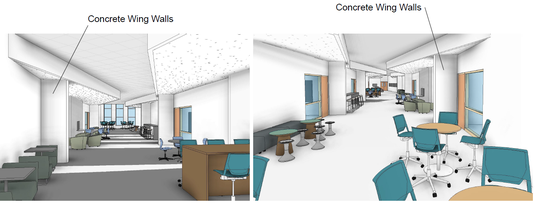 Illustrations of concrete wing walls in the new Fruitport High School building. The walls are designed to allow for students to take cover and to cut down the line of sight of an active shooter.