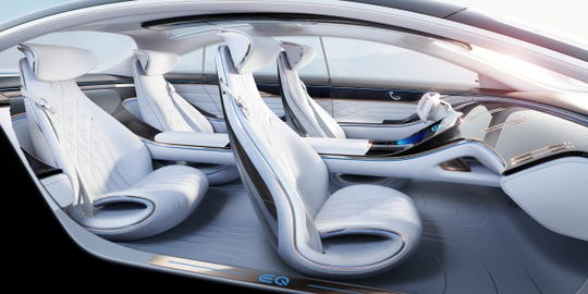 The interior of the EQ, a concept for an electric luxury sedan Mercedes will reveal at the 2019 Frankfurt auto show.