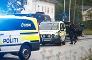 Police attend the scene after a shooting inside the al-Noor Islamic center mosque in Baerum outside Oslo, Norway, Saturday Aug. 10, 2019.