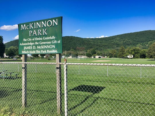Today's McKinnon Park was once Hall's Swamp. It was purchased by Elm Chevrolet with hopes for it becoming an automobile garage. That never happened, and the land became McKinnon Park sometime around 1950.
