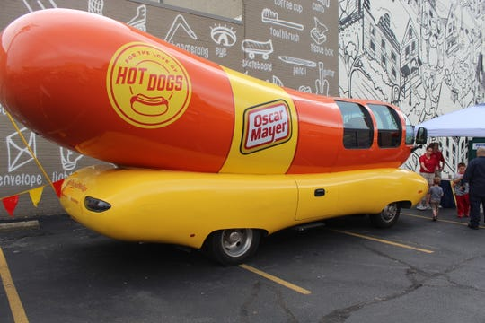 The Oscar Mayer Weinermobile, as part of the Kraft Heinz Company's 150th anniversary, was parkedin downtown Fremont's Brady Building parking lot for the Downtown Fremont Inc. auto show Friday night.