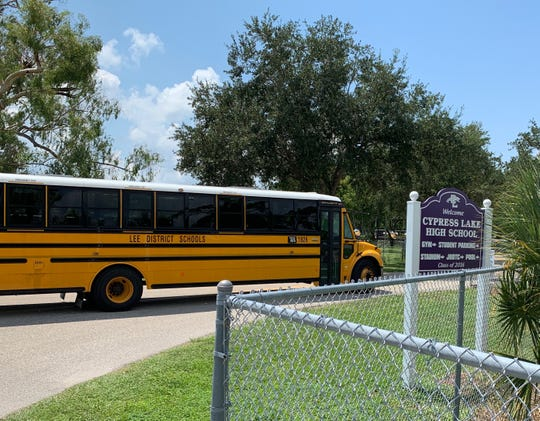 Bus 1826 pulls into Cypress Lake High School on Friday, Sept. 6, 2019. Jose Amieva, 17, was riding that bus with a loaded handgun in his backpack Thursday, according to deputies.