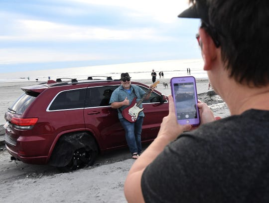Musician Stan James Gregory said he wanted to see the internet-famous Jeep in Myrtle Beach on Friday, Sept. 6, 2019. His wife, Paula, got a photo for his website.