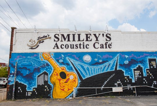 The mural on the exterior of Smiley's Acoustic Cafe in Greenville.