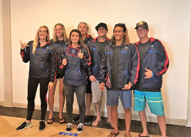 Guam's surfing contingent to the ISA World Surfing Games in Japan are, from left: Lindsey Wilson, Allison Bowman, Irie Fitzgerald, Willi C Byerly, Cheyne Purcell, Jared Gogue and Shane Pier. They will surf against the world's best for an automatic berth to the Tokyo 2020 Olympics.