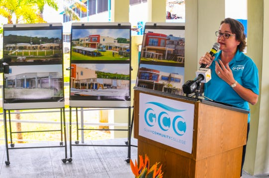 Mary Okada, Guam Community College president speaks during a ceremonial ribbon-cutting in this Sept. 6 file photo.