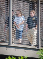 Edgar James Egbert, 41, is escorted across the catwalk between the Rankin County Circuit Court building and the Rankin County Detention Center after his initial bond hearing Friday, Sept. 6, 2019. Egbert, who was denied bond, faces multiple charges including six counts of attempted murder of law enforcement officers, one count of kidnapping and one count of felony fleeing stemming from the Thursday, Sept. 5, 2019, incident during which two Madison County sheriff's deputies were shot.